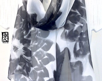 Silk Scarf Handpainted, Gift for her, Silk Scarves Takuyo, Japanese Scarf, Black and White Dhalia Scarf, Silk Chiffon Scarf, 10x58 inches.