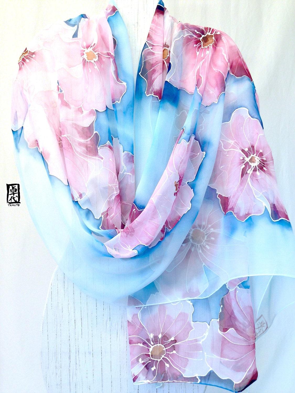 hand painted silk shawl etsy scarf chiffon scarf dreamy