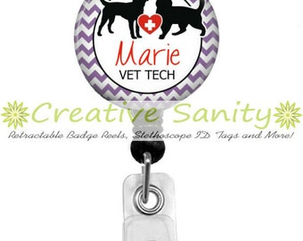 Personalized Retractable ID Badge Holder, Veterinarian, Vet Tech, 5 Chevron Colors, Choice of Badge Reel, Carabiner, Lanyard or Steth ID Tag