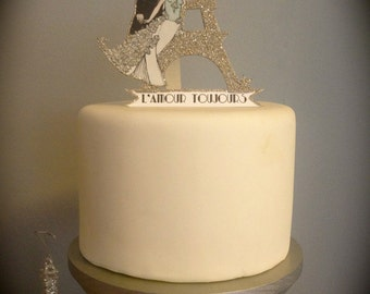 Custom Wedding Cake Topper - Custom Hand Painted - Paris - Eiffel Tower - Silver Glitter