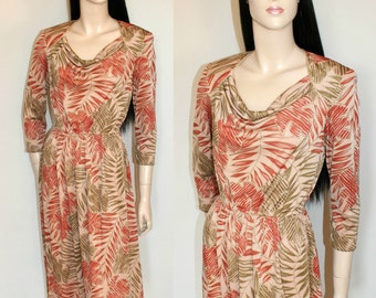 Stylish Vintage Dress by Radley / 70s / 80s / Abstract / Artsy / Earthy / Foliage / Print / Drape detail neckline / UK10 / Small