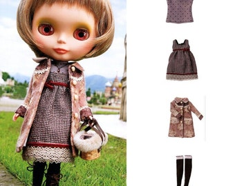 Blythe 4 Pieces Fall Outfit, Dress, Coat, Top and Socks Sewing Pattern PDF English templates names,Sewing key included
