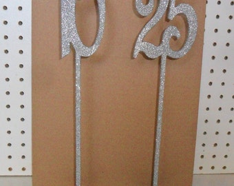 "5"" number on a stick 1-16 Glitter Wooden Table Number 15"" Tall with base"