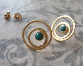 Gold circles stud earrings with turquoise , Gold post earrings , Gemstone  studs , Handmade by Adi Yesod