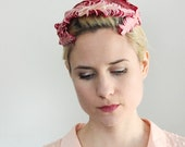 SALE Mid Century 1950s Light and Dark Pink Feathered Headpiece with Netted Top / Made in Italy