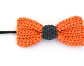 Crochet Bow / Orange Pin / Girl's Hair Pin / Hair Accessory / Crochet Hair Pin