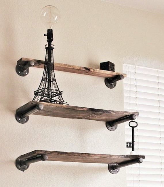 Industrial Pipe Kitchen: Set Of 3 Industrial Shelving Industrial Pipes & Rustic Wood