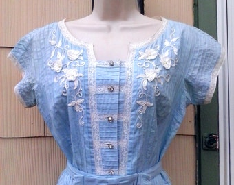 Vintage 1950s Blue White Ribbon Flower Day Party Dress SMALL Rockabilly Rhinestones VLV