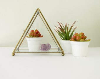 Vintage Glass Pyramid Display Box - Triangle Terrarium Container
