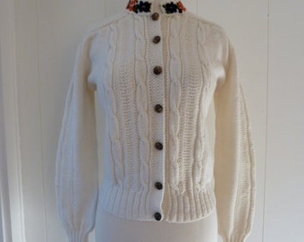 50's Original Lanz Cardigan Cable Knit White Embroidered Floral Sweater Made in Austria M L