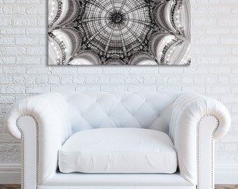 Paris Photograph on Canvas - Galeries Lafayette Ceiling, Gallery Wrapped Canvas, Sepia Black and White,  Large Wall Art, Neutral Home Decor