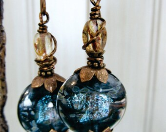 Stormy Sky Glass Coin Earrings