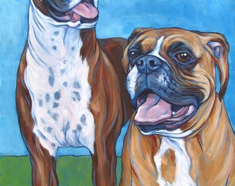 "12"" x 16"" Custom Pet Portrait Painting in Acrylic on 3/4"" Deep Ready to Hang Canvas of Two Dogs, Cats, Pets. Boxer Dog Sample Shown."