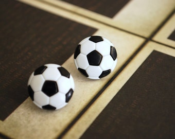 Soccer Ball Earrings -- Soccer Ball Studs, Silver, Athletes, Sports