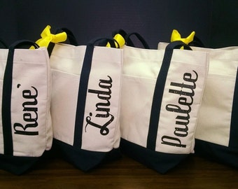 Set of 6 Canvas Tote Bags Personalized Shimmer Vinyl Names