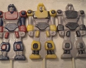 Robots~Transformers~Robot~Bots~Metallic Hand Painted Chocolate Lollipops Birthday Party Favors Candy Pops