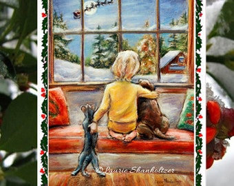 """Christmas greeting Cards sets , Handmade, detachable Art Photo, """"Told Ya Santa Is Coming Tonight"""" by Laurie Shanholtzer"""