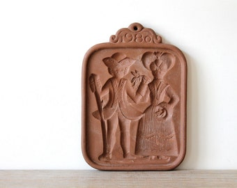 Vintage Dutch style clay cookie mold / farmhouse style / rustic holiday decor / Thanksgiving / Christmas / 1980s cookie mold / rustic chic