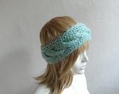 Cable Knitted Headband, Earwarmer, Chunky Headband, Head wrap in Mint Green, Hair Accessories