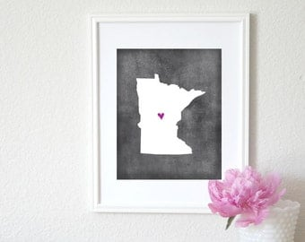 Minnesota Chalkboard State Map Customizable Art Print