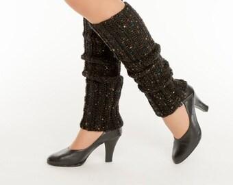 SALE--Black Fleck Crocheted Legwarmers, Handmade, Dance, Ballet, Jazz, Knit, Leg Warmers, Women's Warm, Soft, Winter Accessory, 80's Style