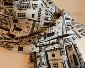 100% Silk Casca Black and White Scarf with Vintage Architecture