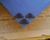 "3 pcs Antique Copper Blue Background Triangle Crest ""Fashion"" Crown Label Charms Connector 4 hole 28mm (BC2226)"