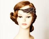 Great Gatsby Inspired Hair Band Headband - 1920 20s Inspired Flapper Girl Headpiece - Black Gold Golden Beads Beaded