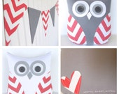 Coral owl, coral pillow, coral and gray nursery decor, coral chevron pillow, gift under 40 by whimsysweetwhimsy