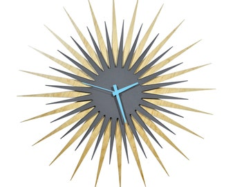 Midcentury Modern Starburst Clock 'Maple/Gray RF Atomic' Colorful Wood/Acrylic Contemporary Sunburst Wall Clock - Inspired by George Nelson