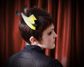 Bird Wing hair fascinator in canary yellow with black Venetian lace and velvet bow detail ~ Steampunk ~ Victorian Revival ~ Masquerade