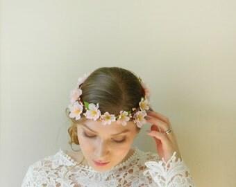 Blush Cherry Blossom Double Flower Crown - Light Pink Bridal Woodland Wreath - Rustic Weddings