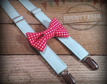 Boys Carnival County Fair First Birthday Red Aqua Blue Bow Tie Suspender Set Country Fair 1st Birthday Cake Smash Rustic Wedding Photo Prop