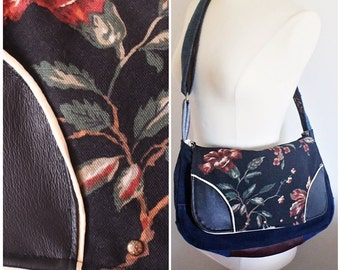 Upcycled Denim Leather Messenger Bag Floral Purse Handmade Unique Gift for Her