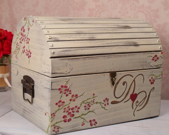 Wedding Card Box - Shabby Chic, Cherry Blossom Personalized, Wedding Decoration, Wedding Chest, Keepsake Box, Memory Box, Rustic, Red