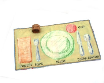 Montessori Placemat - Place setting placemat - Napkin Ring Set - Waldorf Home school - Preschool Table Setting - Placesetting placemat