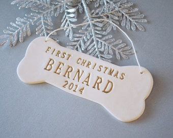Large Personalized Dog Christmas Ornament with Name in Gold - First Christmas - Gift Packaged
