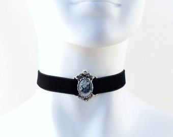Cameo Choker - Grey Victorian Lady in Silver Slide over Black Velvet - Edwardian, Antique Vintage inspired, Gothic, Goth