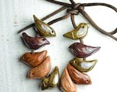 10 Ceramic Bird Beads - Handmade - Size Small - Red- Green - Brown - Golden - Made to order - Craft Supplies