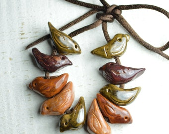 10 Ceramic Bird Beads - Handmade - Size Small - Red- Green - Brown - Golden - Made to order - Craft Supplies