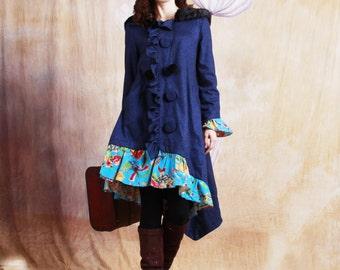 winter autumn patchwork coat dress jacket pure handmade buttons irregular jacket