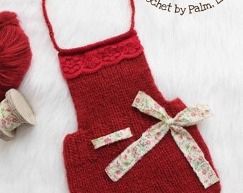 Evelyn Spring Collection # 5, Hand Knit Newborn Overall, Newborn Photography prop --- Ready to ship Newborn