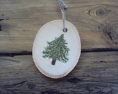 Hand Painted Wood Slice Ornament - Woodland Christmas Decor - Rustic Wood Ornament - Rustic Christmas Tree Decoration - Wooden Ornament