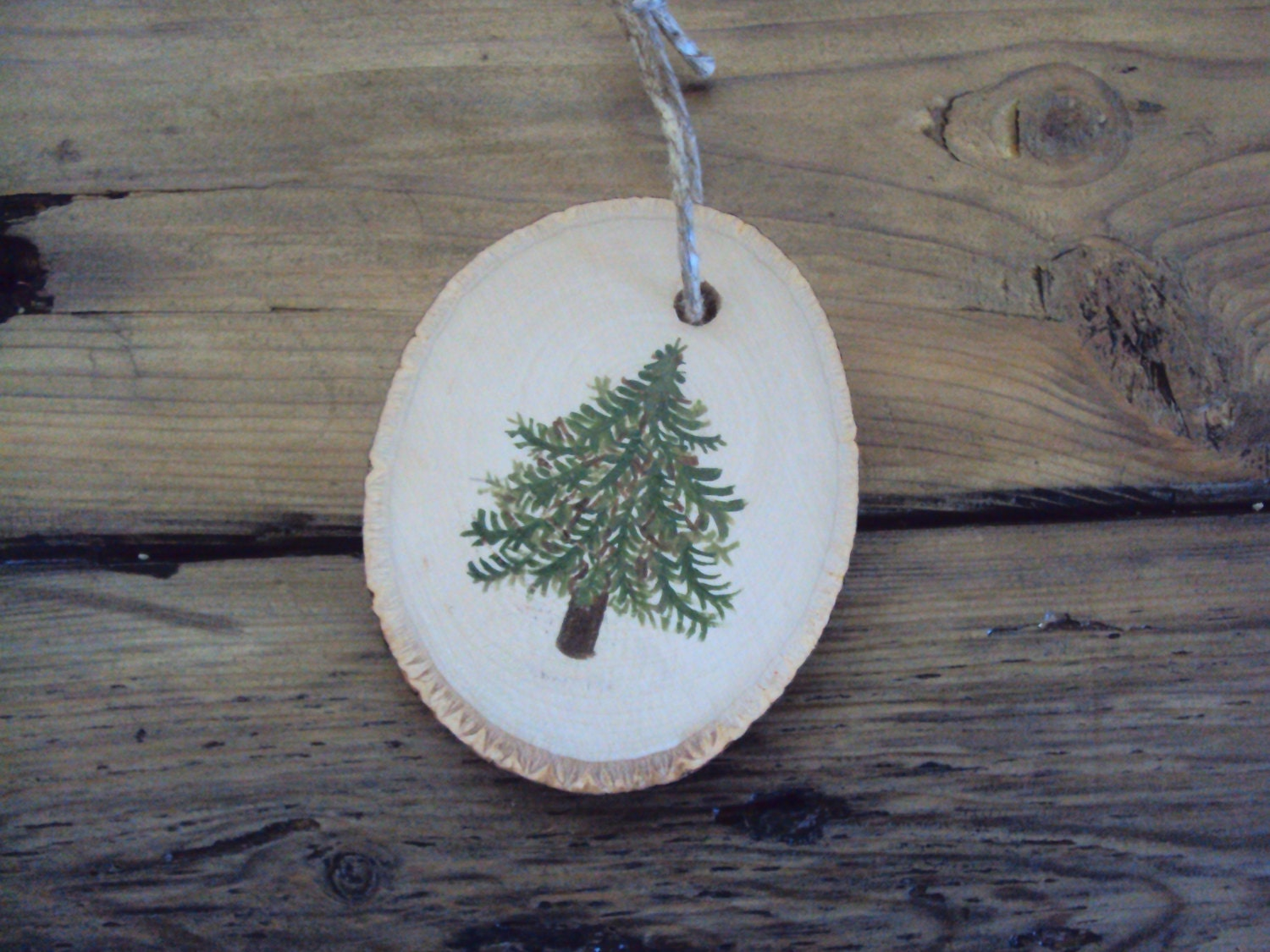 hand painted wood slice ornament christmas in july tree. Black Bedroom Furniture Sets. Home Design Ideas
