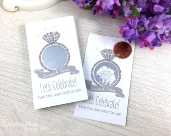 10 Silver Glitter Bridal Shower Scratch Off Cards - Bridal Shower Game -  Bachelorette Party Game