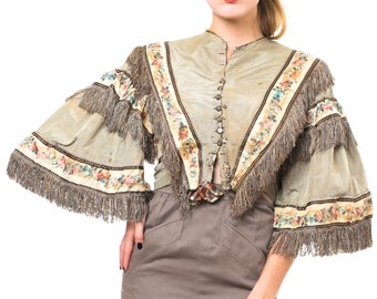 1850s Vintage Museum Piece Neutral Pre-Civil-War Top with Fringe Details and Delicate Floral Print  Size S/M