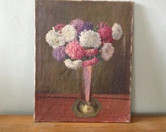 1950 Marguerite Oil Painting, Floral Bouquet Vase, Signed and Dated