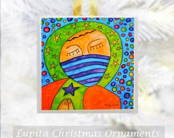 Christmas Ornament: KING Design Handmade - Holiday Gift Christmas Present Christmas Tree Decoration Jesus Watercolor