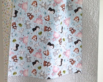 Baby Quilt featuring Snuggle Buddies for Quilting Treasures Blue Grey Brown Green Pink White