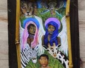 Original 7 x 9 African Earth Angel- Distressed & Painted Wood-Print Inspirational-Child's Decor-Nursery- Safari-Guardian Angel-Home Decor